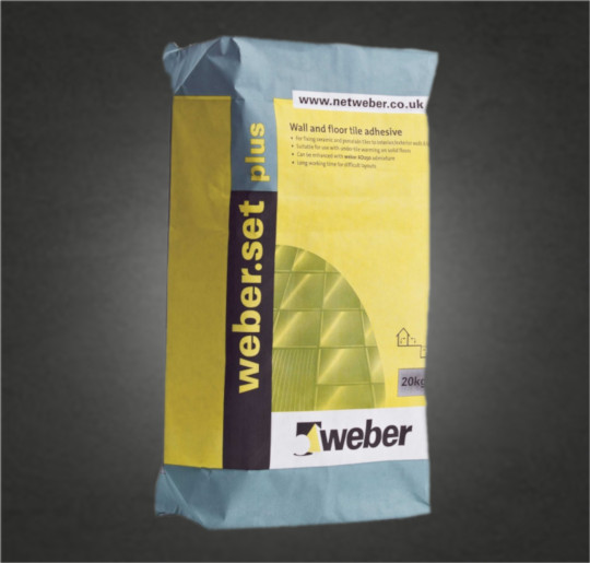 Weber.set plus is a standard-setting tile adhesive for low-porosity tiles and substrates For fixing all types of ceramic tiles, including fully vitrified/porcelain tiles