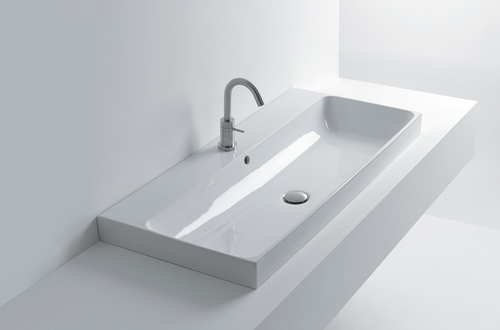 Compact design for small bathrooms.<br />Available in white